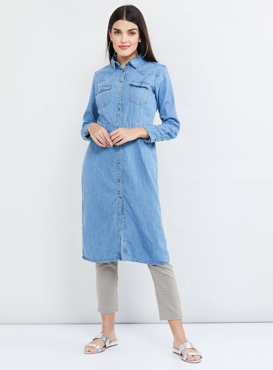 MAX Light Washed Full Sleeves Denim Tunic