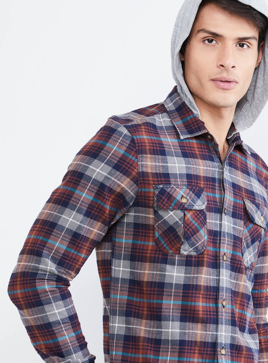 MAX Checked Hooded Full Sleeves Shirt
