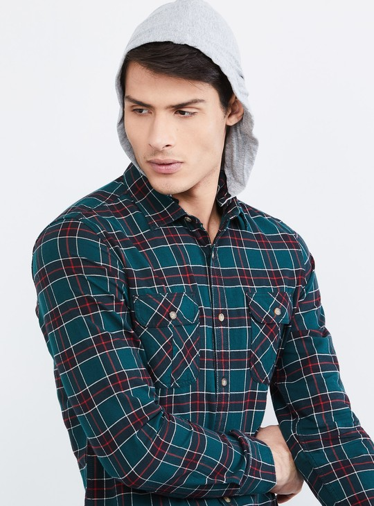 MAX Checked Hooded Full Sleeves Shirt