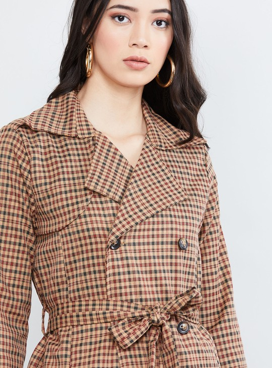 MAX Checked Notched Neck Jacket with Belt