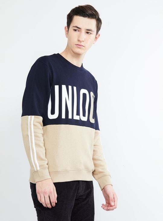 MAX Colourblocked Printed Full Sleeves Sweatshirt