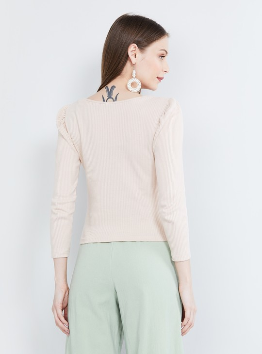 MAX Ribbed Puffed Sleeves Top
