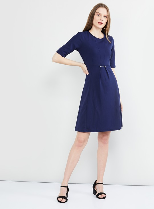 MAX Solid Short Sleeves A-line Dress