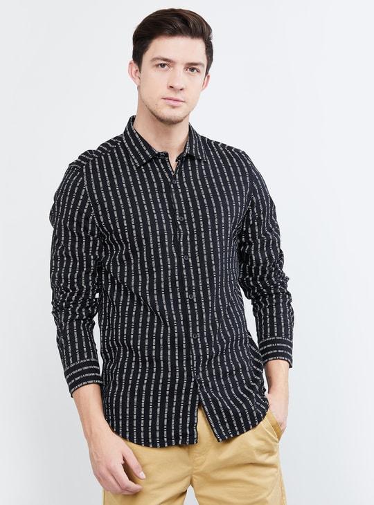 MAX Typographic Print Full Sleeves Slim Fit Shirt