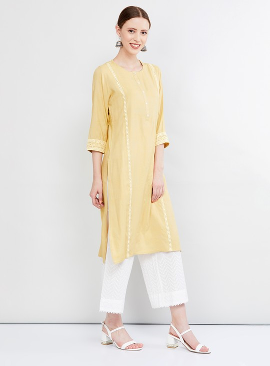 MAX Textured Straight Kurta with Lace Embroidery