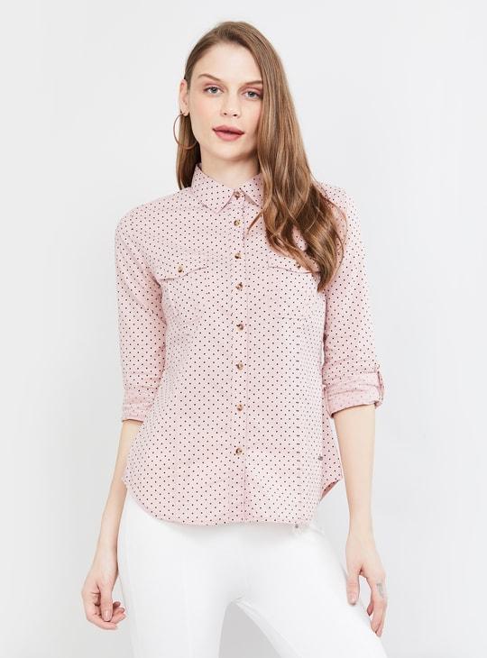 MAX Roll-Up Sleeves Polka-Dot Print Casual Shirt