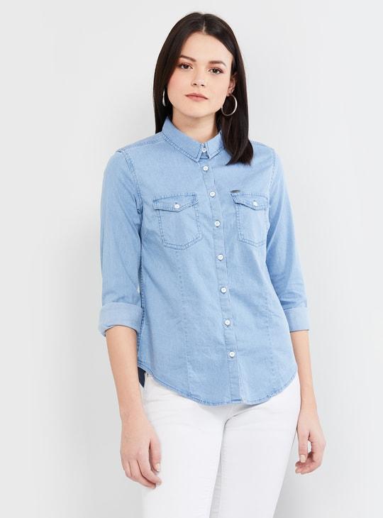 MAX Solid Full Sleeves Denim Shirt