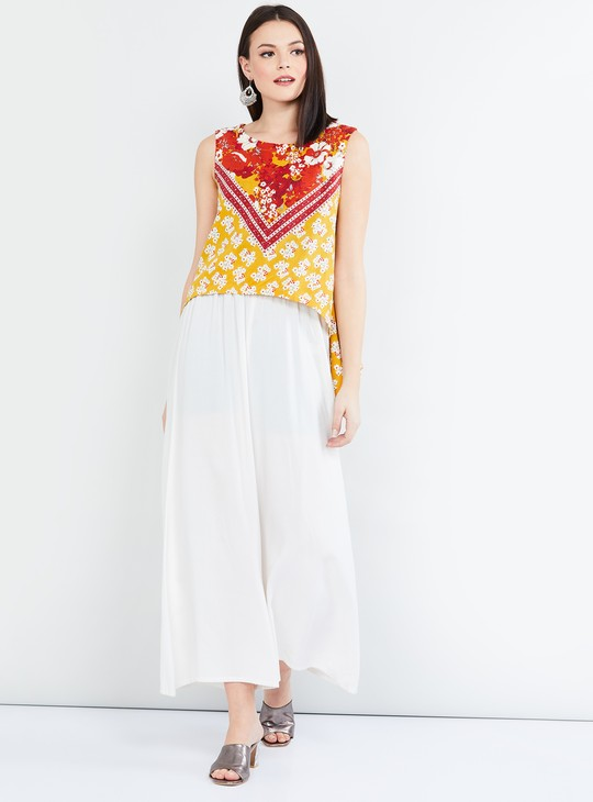 MAX Floral Print Sleeveless Top with Asymmetric Hem