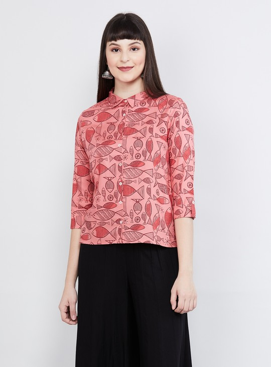 MAX Printed Roll-Up Sleeves Top