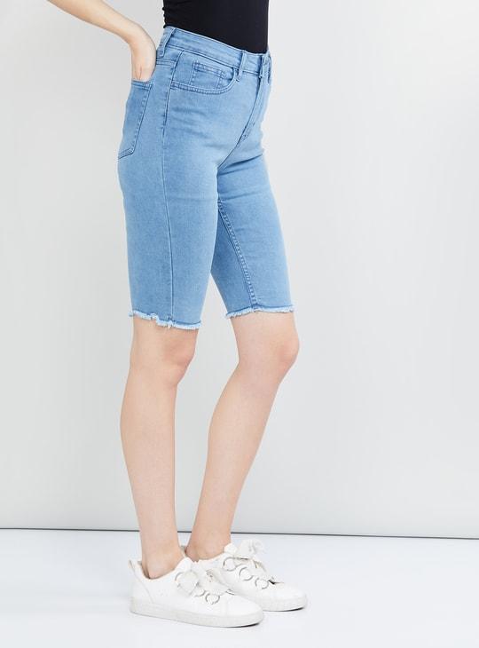 MAX Frayed Hem Denim Shorts