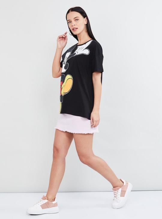 MAX Mickey Mouse Print Short Sleeves T-shirt