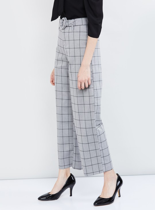 MAX Checked Flared Pants with Belt
