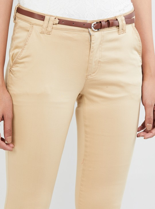 MAX Solid Casual Trousers with Belt