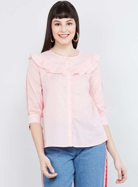 MAX Textured Ruffle-Detailed Top