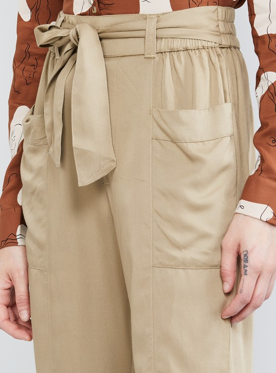 MAX Solid Pants with Tie-Up Detail