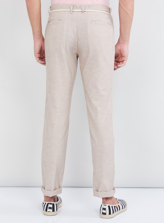 MAX Solid Regular Fit Casual Trousers with Belt