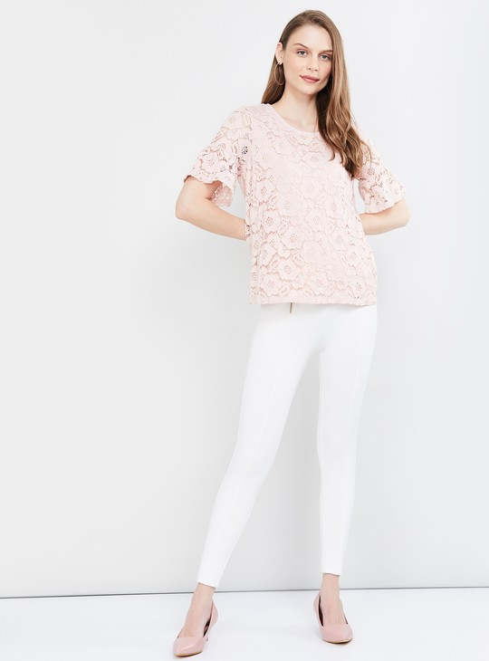 MAX Bell Sleeves Floral Lace Top