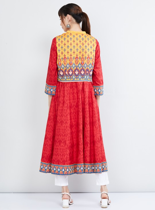 MAX Printed A-line Kurta with Ethnic Jacket
