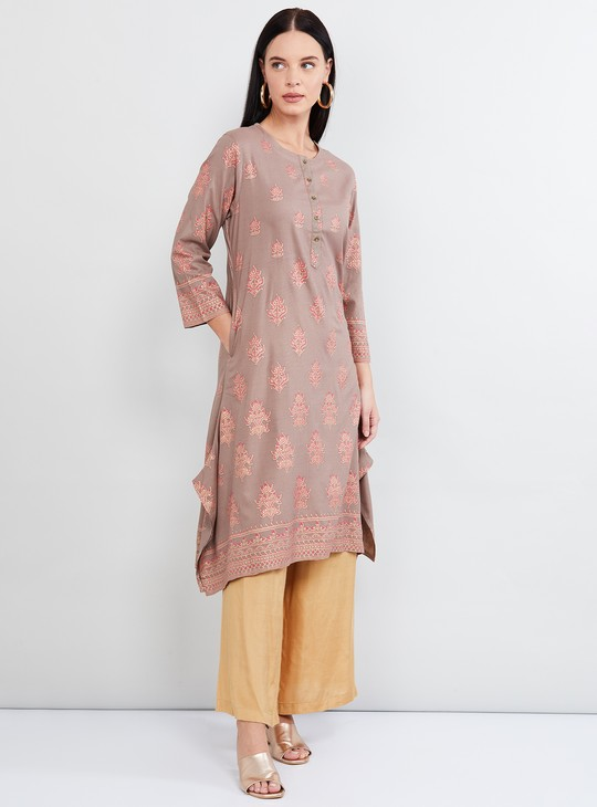 MAX Printed A-line Kurta with Button Placket