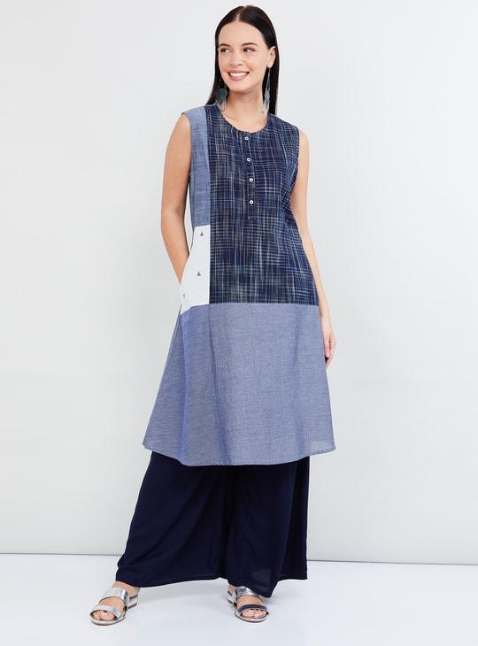 MAX Colourblocked Sleeveless A-line Kurta