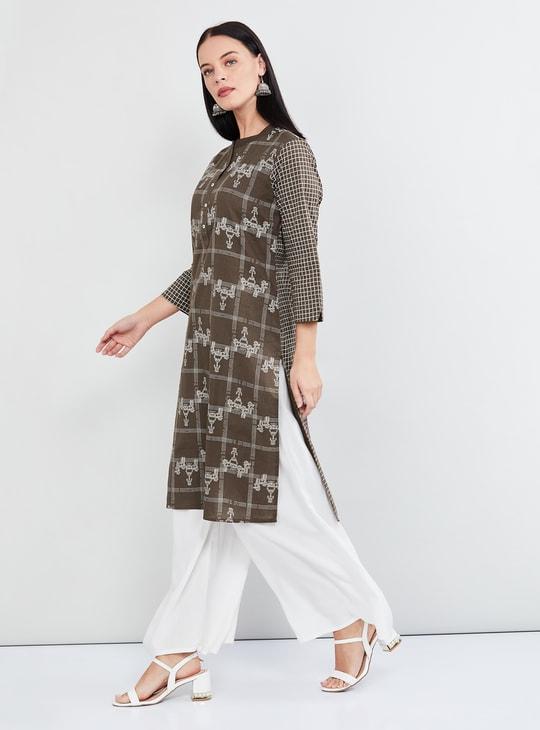MAX Ethnic Print Three-quarter Sleeves Kurta