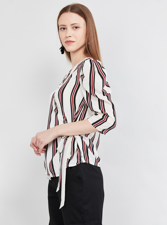 MAX Striped Surplice Neck Top