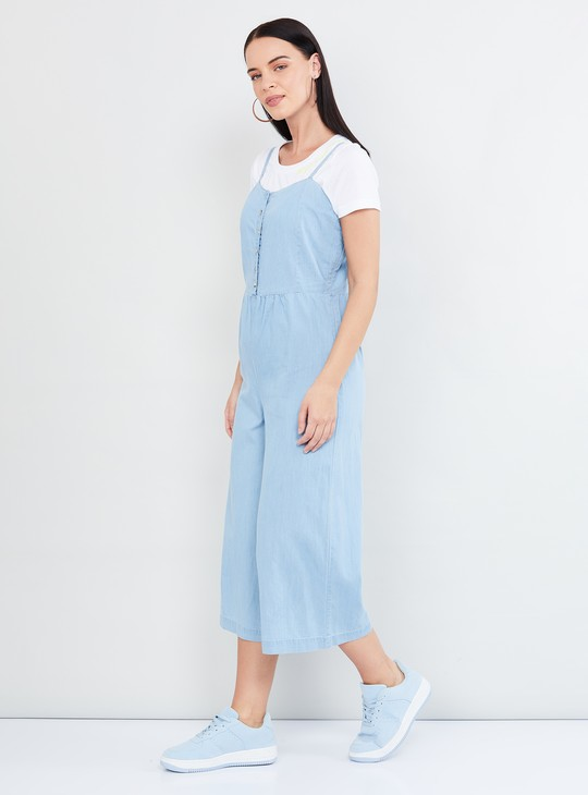 MAX Solid Cropped Denim Jumpsuit