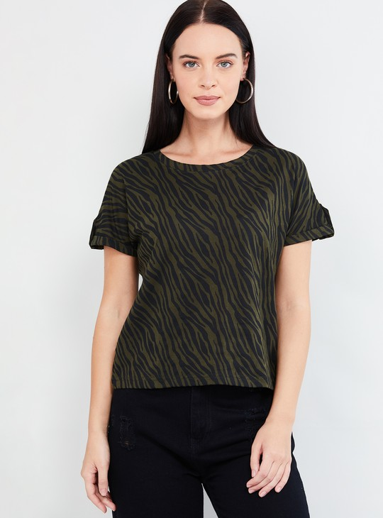 MAX Printed Top with Upturned Hems