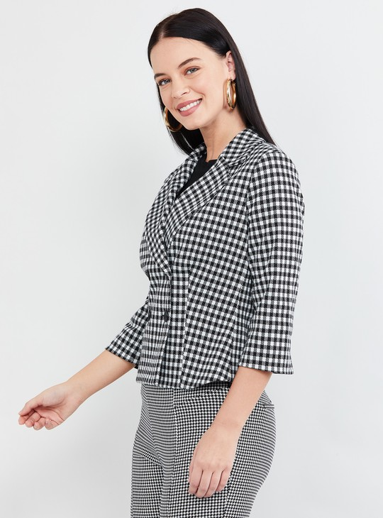 MAX Gingham Checked Double-Breasted Jacket