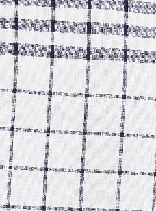 MAX Roll-Up Sleeves Windowpane Checks Straight Kurti