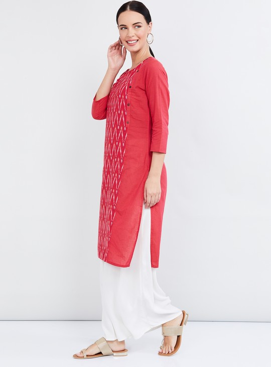 MAX Chevron Print Three-quarter Sleeves Straight Kurta