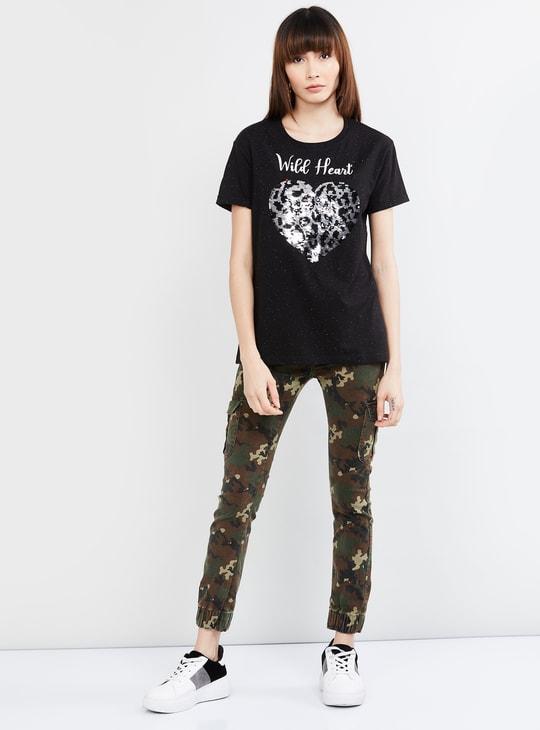 MAX Mermaid Sequinned Round Neck T-shirt