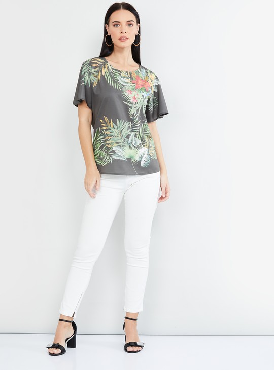 MAX Tropical Print Round Neck Top