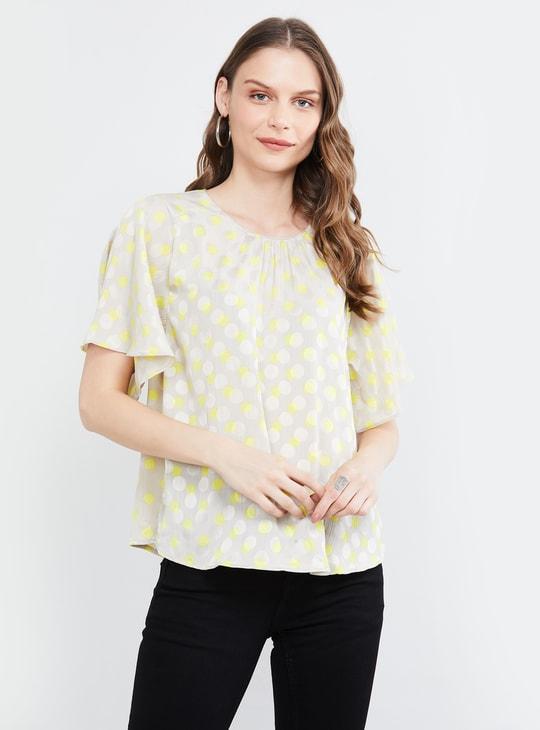 MAX Polka-Dot Print Top with Flared Sleeves