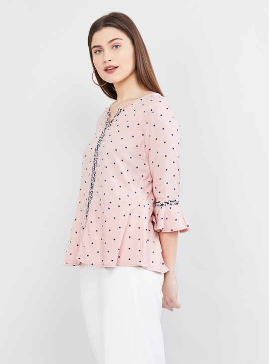 MAX Printed Notched Neck Top