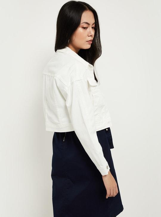 MAX Solid Drop-Shoulder Denim Jacket