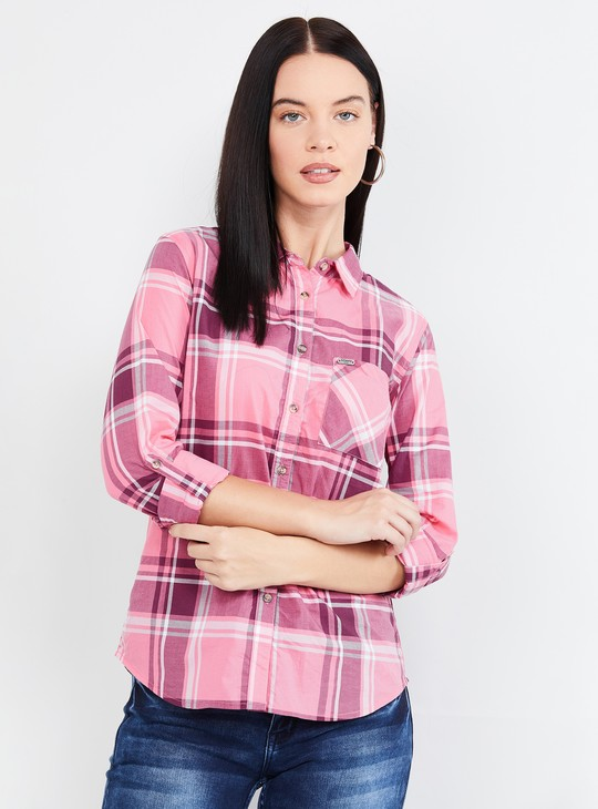 MAX Checked Casual Shirt with Three-Quarter Sleeves