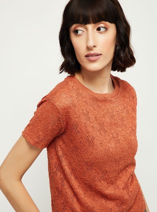 MAX Floral Lace Round-Neck Top