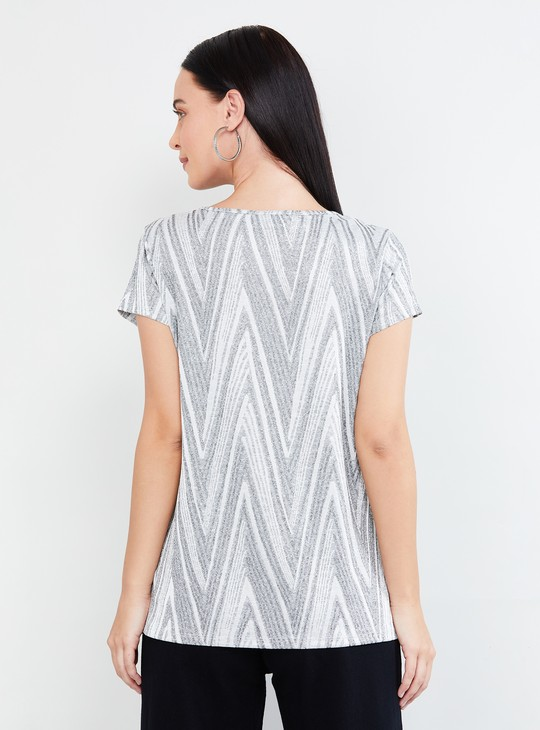 MAX Chevron Print Top with Cap Sleeves