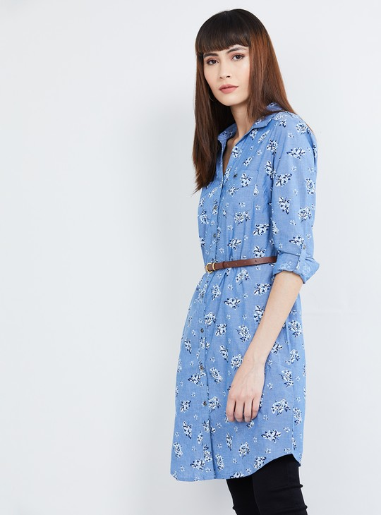 MAX Roll-Up Sleeves Floral Print Shirt Tunic