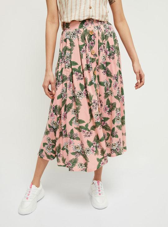 MAX Floral Print Eco Liva A-line Skirt