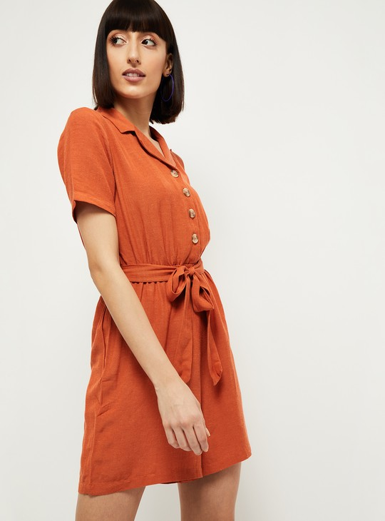 MAX Solid Playsuit with Tie-Up Belt