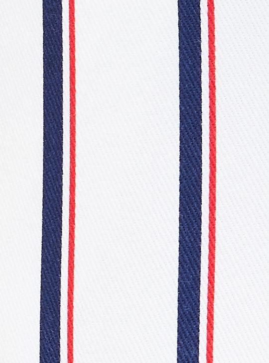 MAX Frayed Hems Striped Denim Shorts with Detachable Belt