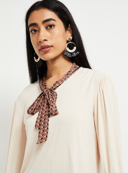 MAX Solid Full Sleeves Top with Contrast Sash Tie-Up