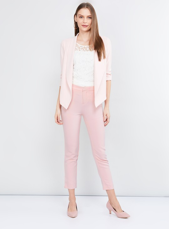 MAX Solid Cropped Fitted Trousers