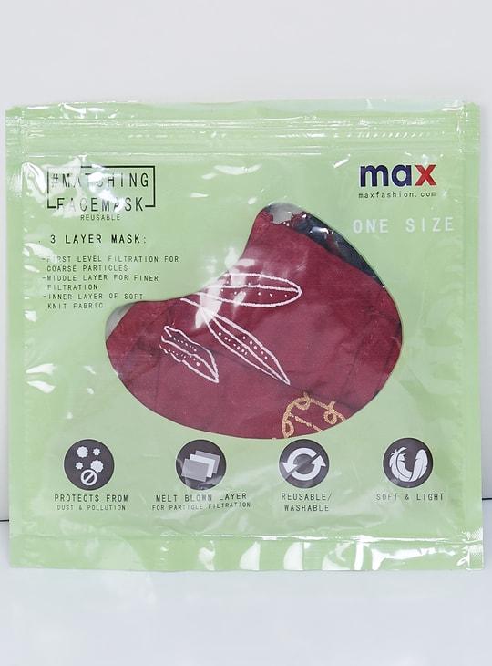 MAX Floral Print Straight Kurta with Mask