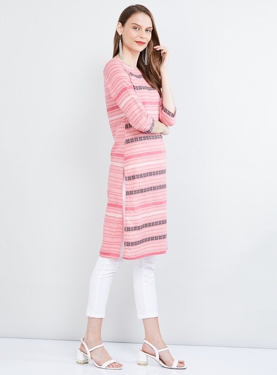 MAX Striped Three-quarter Sleeves Kurta