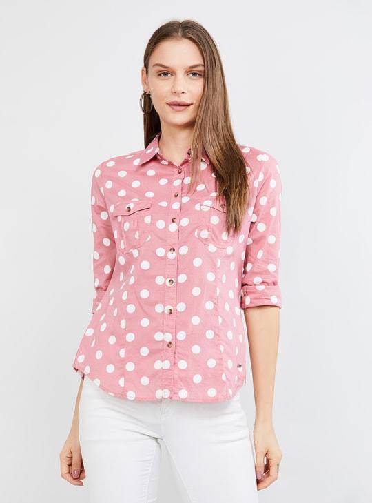 MAX Polka Dot Print Full Sleeves Shirt