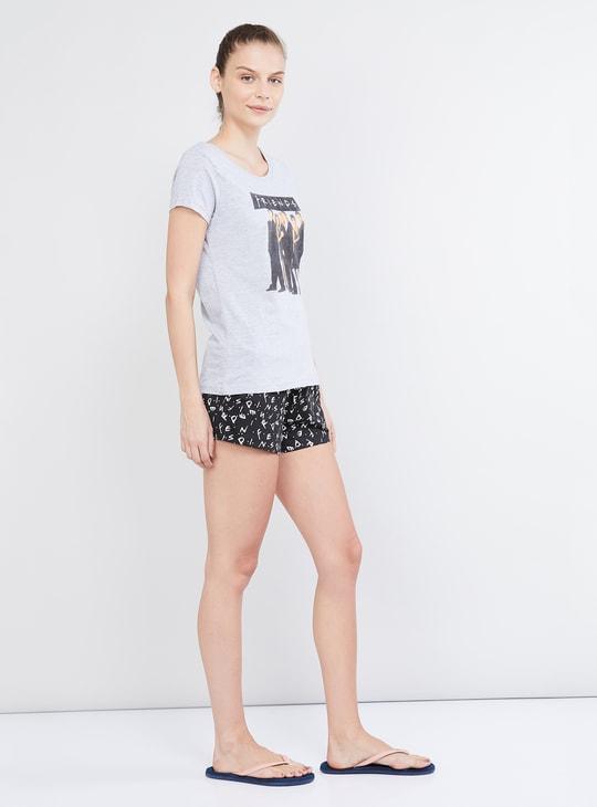 MAX Graphic Print Short Sleeves T-shirt and Elasticated Shorts