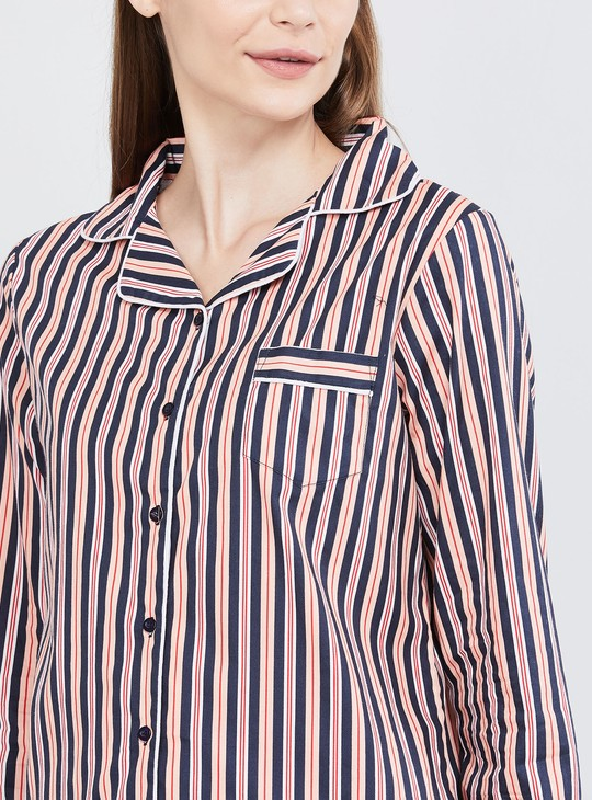 MAX Striped Button-Down Shirt with Pyjamas